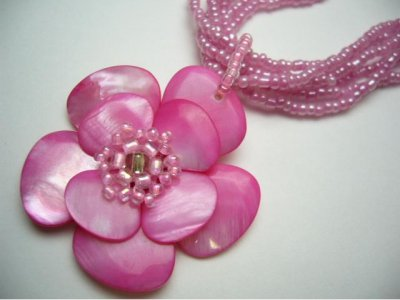 Double Layer Hot Pink Color MOP Flower with Matching Sea Bead