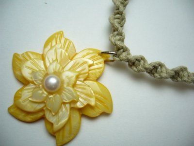 40mm Yellow Triple Color MOP Flower Pendant with Hemp Necklace
