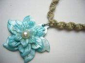 Blue 40mm Triple Color Mother of Pearl Flower Pendant w/ Hemp