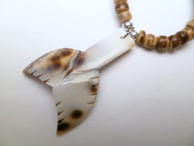 "Cowry Whale Tail with 18"" Coconut Necklace"
