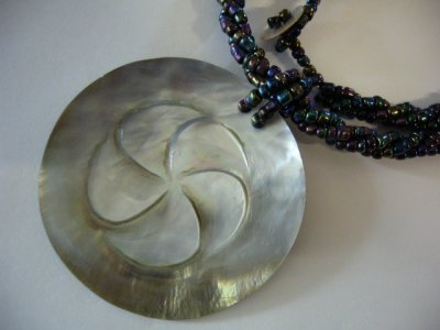 Limpet-Opihi Shell w/ White Seabead Necklace
