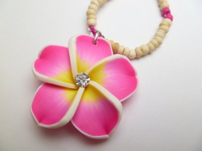 35mm Pink Fimo Flower w/ C.Z. Stone w/Natural Coco Bead Necklace