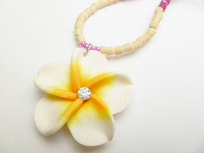35mm White and Yellow Fimo Flower w/ Natural Coco Bead Necklace