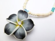 35mm Black Fimo Flower w/C.Z.Stone w/Natural Coco Bead Necklace
