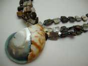 40mm Nautilus Shell w/ Black Lip Shell Necklace 18""