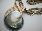 50-60mm Natural Nautilus Shell Pendant w/ Lip Shell Necklace