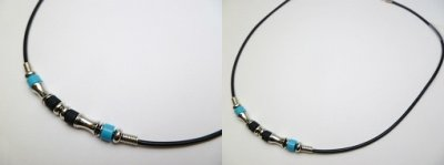 Blue Bead with Metal Bone Bead 2mm Plastic Cord Necklace 20""