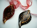 Handcrafted Glass Leaf with Ribbon Necklace