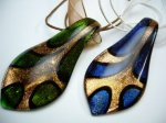 Handcrafted Glass Teardrop with Ribbon Necklace
