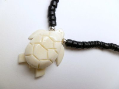 "Coconut Bead Necklace 18"" with 31mm x 30mm Turtle Bone Pendant"