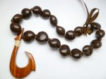 Brown Kukui (18 Nuts) with Large Natural Wood Fish Hook Pendant