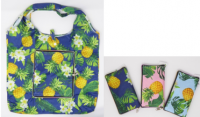 Hawaii Pineapple Print Reusable Bag with Zipper Pouch Attached