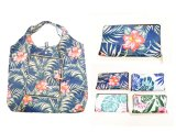 Hawaii Floral Print Reusable Bag with Zipper Pouch Attached