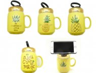 "5""X3.5"" Assorted Pineapple Ceramic Cup w/ Phone Holder Cover"