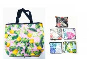 Floral Print Reusable Bag Can Fold Into Pouch w/ Zipper