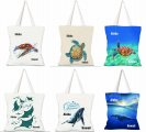 Assorted Hawaii Ocean Life Canvas Tote Bag