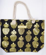 Gold Pineapple Print Black Polyester Bag with Rope, 17x12x4""