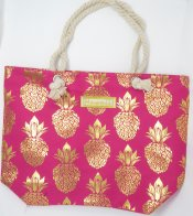 Gold Pineapple Print Pink Polyester Bag with Rope Handle