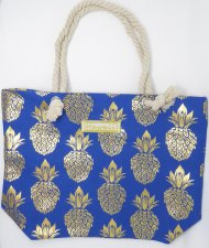 "Gold Pineapple Print Blue Polyester Bag w/ Zipper, 17""x12""x4"""