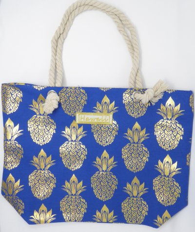 Gold Pineapple Print Blue Polyester Bag with Rope Handle