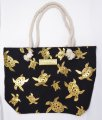 "Gold Turtle Print Black Polyester Bag w/ Zipper, 17""x12""x4"""