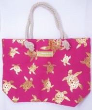 "Gold Turtle Print Pink Polyester Bag w/ Zipper, 17""x12""x4"""