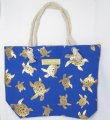 "Gold Turtle Print Blue Polyester Bag w/ Zipper, 17""x12""x4"""