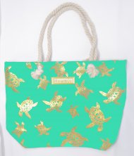 "Gold Turtle Print Turquoise Polyester Bag w/ Zipper, 17""x12""x4"""