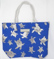 Silver Turtle Print Blue Polyester Bag with Rope Handle