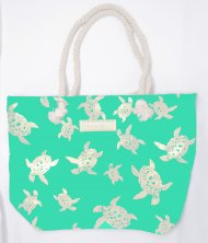 Silver Turtle Print Turquoise Polyester Bag with Rope Handle