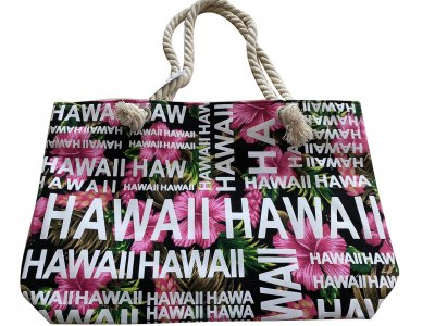 "Hawaii Hibiscus Flower Polyester cotton Tote Bag 17"" x12"" x4"""