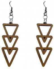 50mm Wood Carved Three Trangle Shape Dangle Earrings