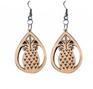 45mm Wood Carved Tear Drop Pineapple Dangle Earrings