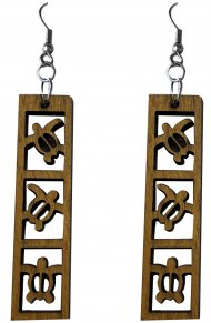 50mm Wood Carved Hawaii Sea Turtle Dangle Earrings