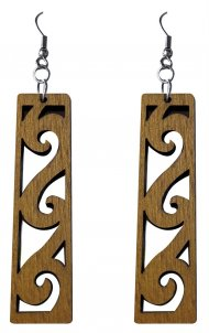 50mm Wood Carved Hawaii Wave Dangle Earrings