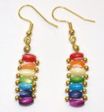 Multi Color Flat Mother of Pearl Earring