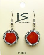 Red Coral Earring w/ Cyrstal