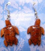 Handcrafted Wood Turtle Earring