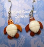 Handcrafted Bone and Wood Turtle Earring