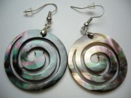 30mm Black Mother of Pearl Shell Spiral Earring