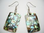 30mm Rectangle Abalone Shell Earring
