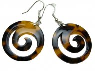 Brown/ Black Faux Turtle Shell Spiral Earring