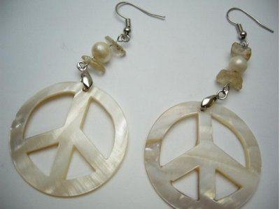 40mm Peace Sign White Mother Of Pearl Shell Earring