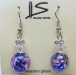 Royal Blue Murrano Glass Earring