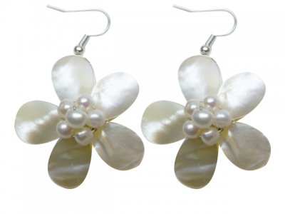 30mm White MOP Flower Shell with White Pearls Earrings