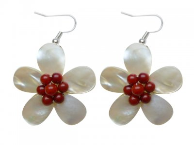 30mm White MOP Flower Shell with Coral Earrings