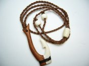 Half Wood & Half Bone Fish Hook Necklace