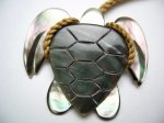 40mm Black Mother Pearl Turtle Pendant w/ Brown Adjustable Cord