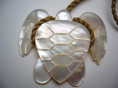 40mm White Mother Pearl Turtle Pendant w/ Brown Adjustable Cord