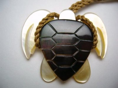 40mm Black/ Yellow Mother Of Pearl Turtle Pendant w / Brown Cord